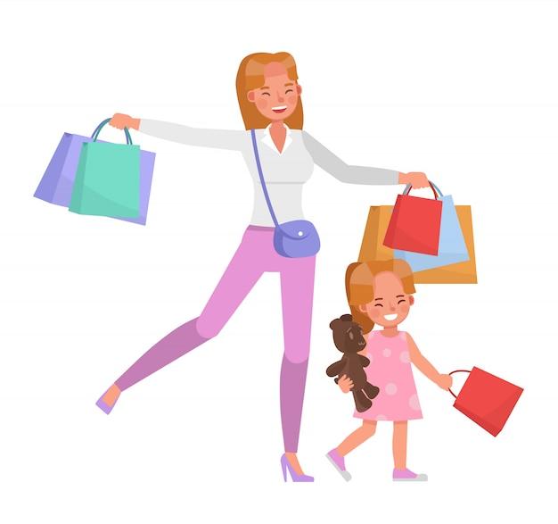 Счастливый дизайн вектора характера матери и дочери для концепции дня матери. no4