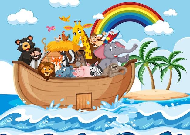 Ноев ковчег с животными в океане
