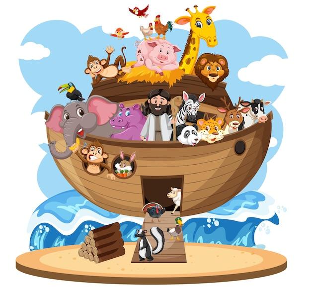 Ноев ковчег с животными, изолированные на белом фоне