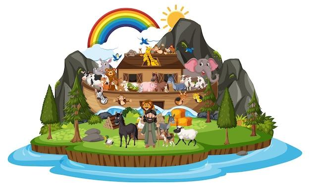 白い背景で隔離の動物とノアの箱舟