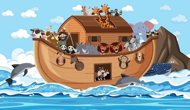 Noah's ark with animals in the ocean scene