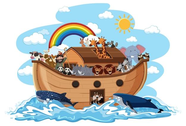 白い背景で隔離の水の波に動物とノアの箱舟