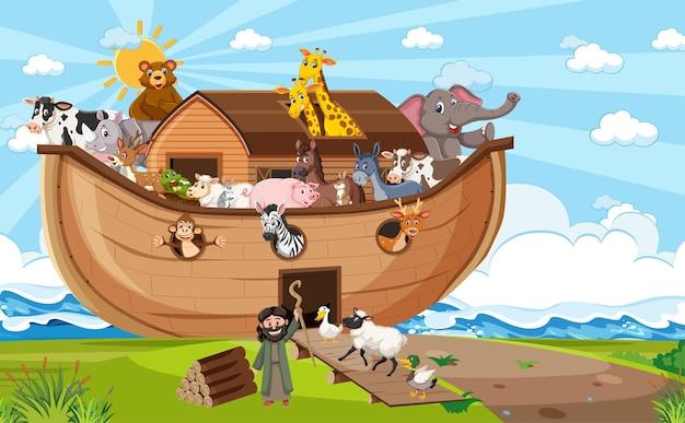 Noah's ark with wild animals in nature scene