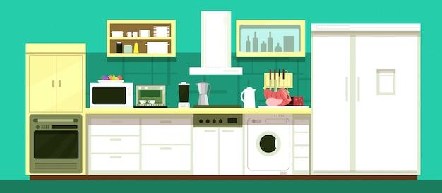 Nobody cartoon kitchen room vector interior
