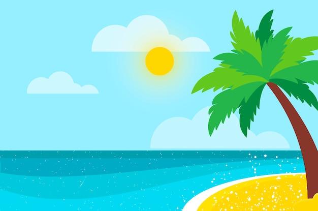 海岸のイラストのヤシの木の下には誰もいない