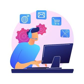 Круглосуточная техническая поддержка. онлайн-помощник, помощь пользователям, часто задаваемые вопросы. колл-центр работник мультипликационный персонаж. женщина, работающая на горячей линии