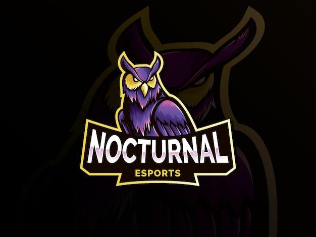 Nocturnal bird owl mascot logo