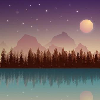 달과 산으로 야행성 자연 풍경