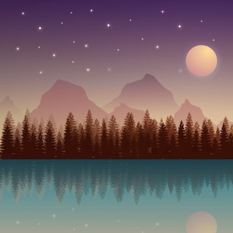 Nocturnal nature landscape with moon and mountains