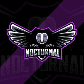 Nocturnal owl bird mascot logo esport template design