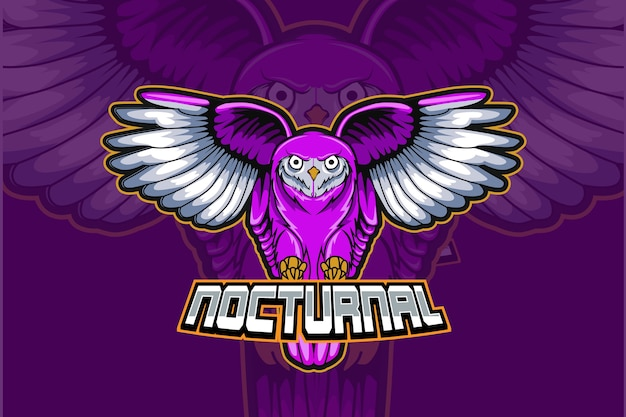 Nocturnal owl esport and sport mascot logo design in modern illustration concept for team badge, emblem and thirst printing