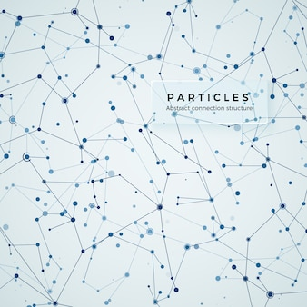 Узел, точки и линии. абстрактный геометрический графический фон замысловатость. строение атома, молекулы и связи. комплекс больших данных с соединениями. визуализация цифровых данных. иллюстрация