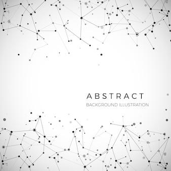 Узел, точки и линии. абстрактный геометрический графический фон частиц. строение атома, молекулы и связи. комплекс больших данных с соединениями. визуализация цифровых данных. иллюстрация