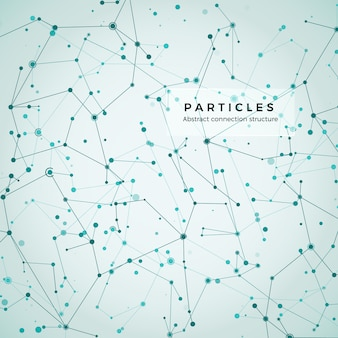 Node, dots and lines. abstract particles geometric graphic background. structure of atom, molecule and communication. big data complex with compounds. digital data visualization.  illustration