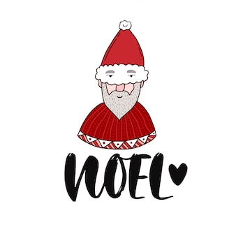 Noel france christmas handwritten calligraphy with santa claus