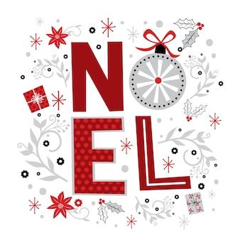 Ноэль письмо с красными и белыми цветами, векторные иллюстрации