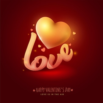Noise effect love text with golden heart on dark red background for happy valentine's day concept, love is in the air.