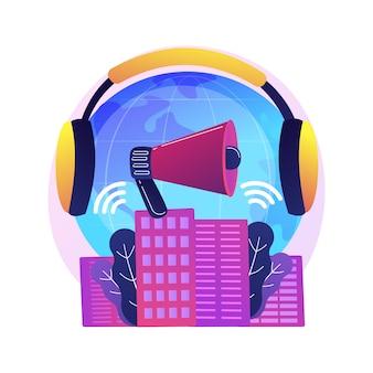 騒音公害の抽象的な概念図。騒音公害、建設による騒音公害、都市の問題、ストレスの原因、耳の保護、聴覚の問題