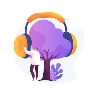 ノイズ保護の抽象的な概念図。産業用安全用品、プロ仕様の耳栓、騒音レベルの低減、耳の保護、サウンドキャンセリング機器