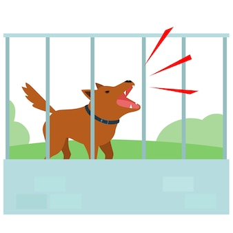 Noisy dog barking in fence of neighbour