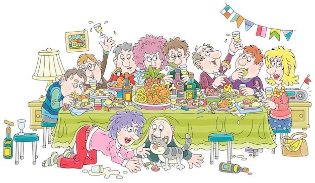 Шумный праздник с веселыми, шумными и слегка выпившими посетителями