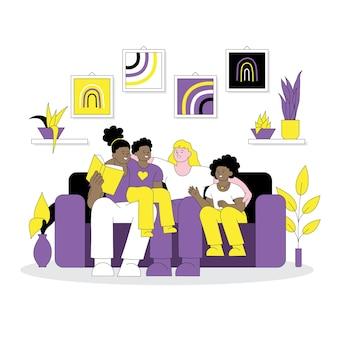 Non binary family lgbtqia concept non binary parents and their children enjoying family time