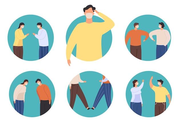 Бесконтактный значок приветствия. новое нормальное приветствие для остановки вируса, альтернатива рукопожатию намасте, удару локтем и ступнями, кланению и векторному набору. иллюстрация социальной профилактики covid-19