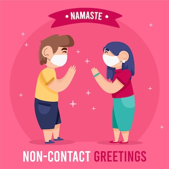 Non-contact greeting namaste for protection
