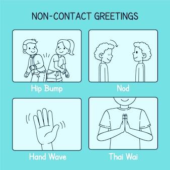 Stile di raccolta saluti senza contatto