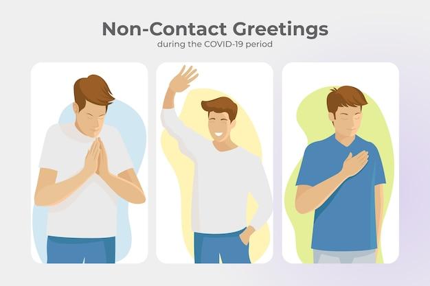 Non-contact greetings for coronavirus prevention Premium Vector