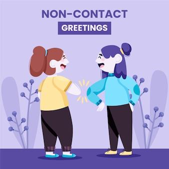 保護のための非接触挨拶女性