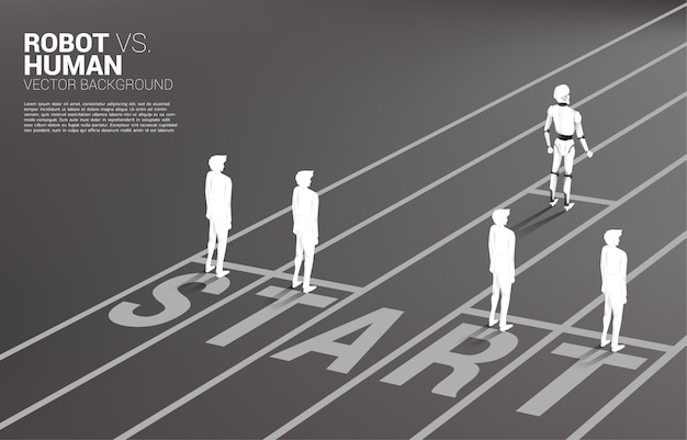 Non fair racing of human and robot.