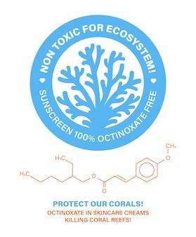 생태계에 무독성 산호초 보호 스킨케어 화장품 산호초 표백