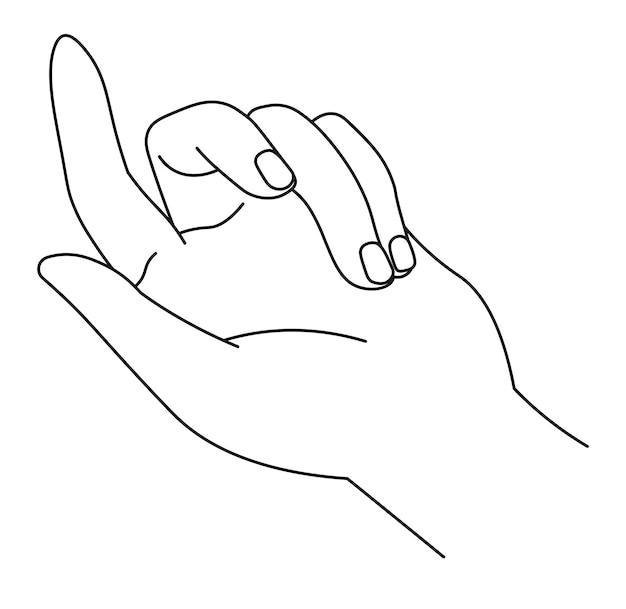 非言語コミュニケーション、ジェスチャーを示す孤立した手。手のひらと指。カウントのサイン、数字またはアルファベット記号