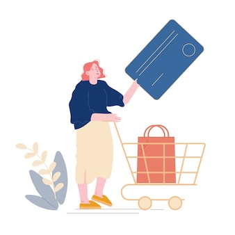 Noncontact payment concept. female customer character stand in supermarket prepare credit card for cashless online paying. woman buyer pushing trolley with good in store. cartoon
