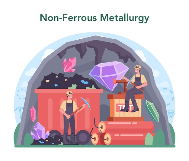 Nonferrous metallurgy concept ore extracting and production