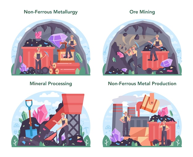 Nonferrous metallurgy concept set. ore extracting and production