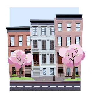 非線形の家は絵の外に見えます。フラットな漫画スタイルの春の街。街並みのツリーハウス。フォアグラウンドで緑の芝生とピンクの咲く木がある日の都市景観