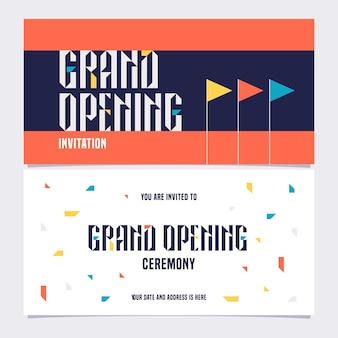 Nonstandard background with grand opening sign banner, illustration, invitation card. template flyer, invite for opening ceremony