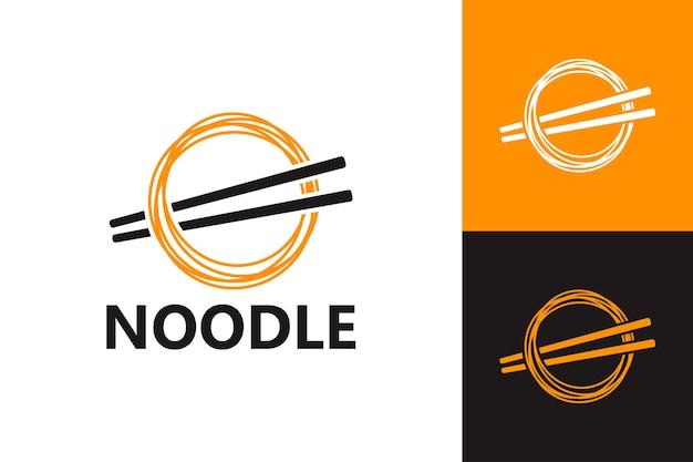 麺と箸のロゴテンプレートプレミアムベクトル