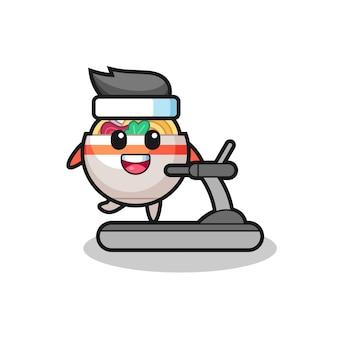 トレッドミルの上を歩くヌードルボウルの漫画のキャラクター、tシャツ、ステッカー、ロゴ要素のかわいいスタイルのデザイン