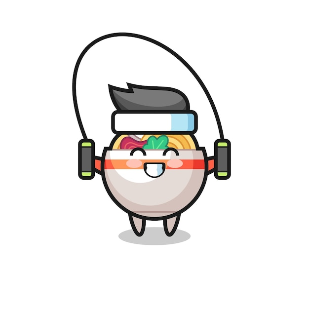 Noodle bowl character cartoon with skipping rope , cute style design for t shirt, sticker, logo element