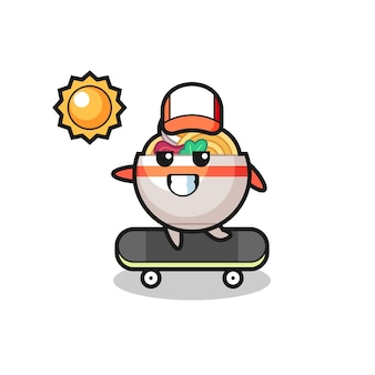Noodle bowl character illustration ride a skateboard , cute style design for t shirt, sticker, logo element