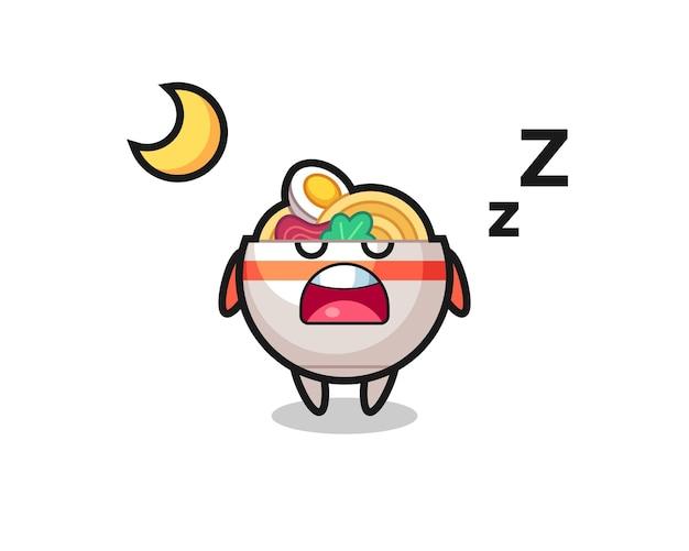 夜寝る麺丼のキャラクターイラスト、tシャツ、ステッカー、ロゴ要素のかわいいスタイルのデザイン