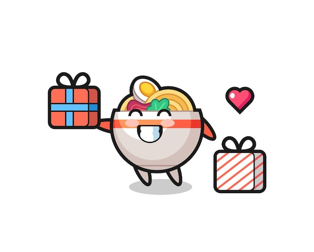 Noodle bowl mascot cartoon giving the gift , cute style design for t shirt, sticker, logo element