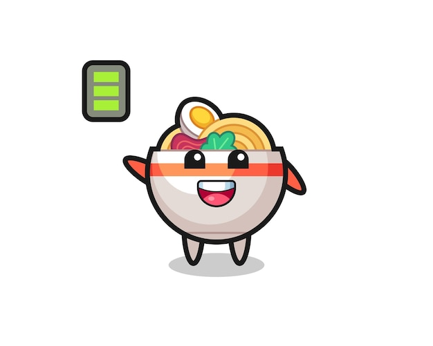 Noodle bowl mascot character with energetic gesture , cute style design for t shirt, sticker, logo element