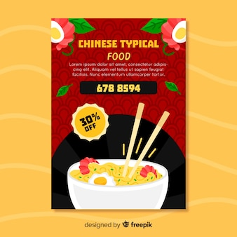 Noodle chinese food flyer