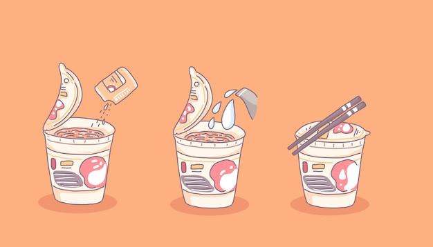 Иллюстрация шаржа чашки лапши
