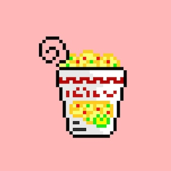 Noodle cup with pixel art style