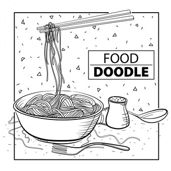Noodle doodle food. black and white. freehand
